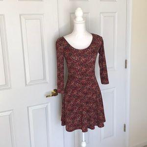 Cranberry Floral 3/4 Sleeve Skater Dress